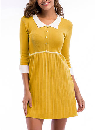Solid 3/4 Sleeves A-line Above Knee Dresses