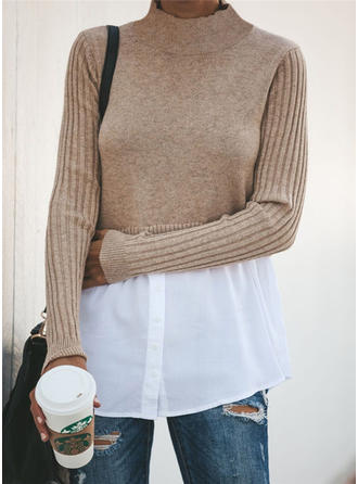 Color Block Cable-knit Stand Collar Sweaters