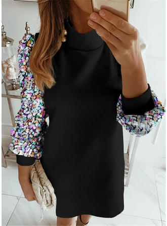 Sequins/Patchwork Long Sleeves Shift Midi Casual Dresses