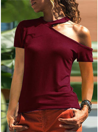 Solid One-Shoulder Short Sleeves Casual T-shirt