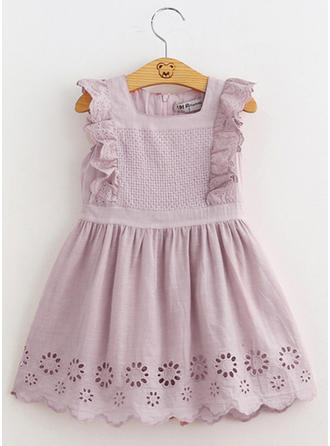 Girls Round Neck Solid Lace Casual Cute Dress
