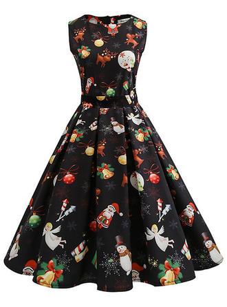 Print Sleeveless A-line Knee Length Vintage/Christmas Dresses