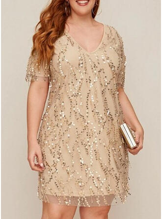 Sequins/Solid Short Sleeves Sheath Knee Length Little Black/Party/Plus Size Dresses