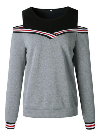Polyester Color Block Striped Sweatshirt