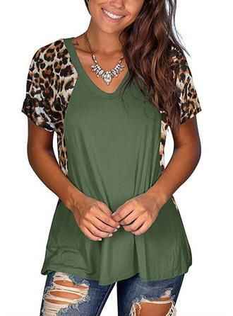 Patchwork Leopard V-Neck Short Sleeves Casual T-shirts