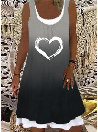 Print/Gradient/Heart Sleeveless Shift Knee Length Casual Tank Dresses