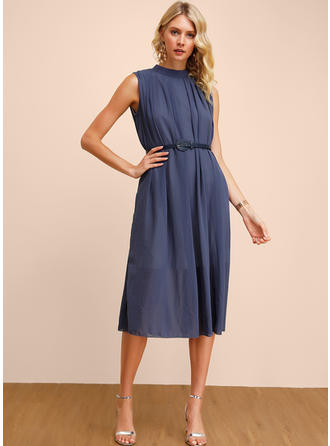 Solid Sleeveless A-line Midi Casual/Elegant Dresses