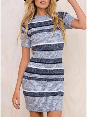 Striped Round Neck Above Knee Bodycon Dress