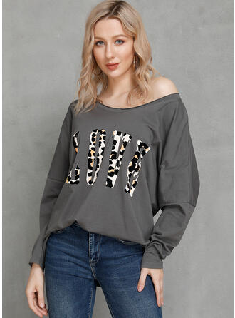 Animal Print V-Neck Long Sleeves Casual T-shirts