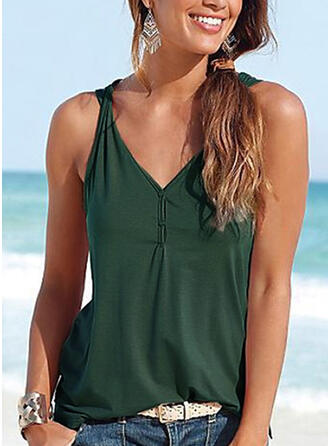 Solid V Neck Sleeveless Button Up Casual Sexy Blouses