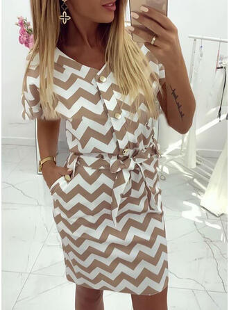 Striped Short Sleeves Sheath Knee Length Casual Dresses