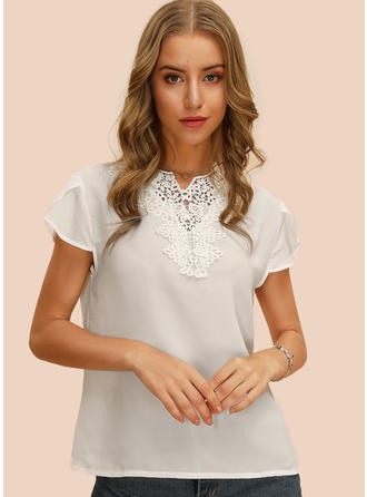 Solid Lace V Neck Short Sleeves Casual Elegant Blouses