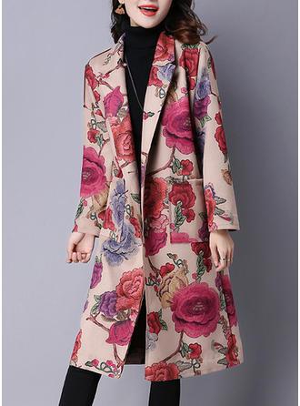 Bawełna Długie rękawy Kwiatowy Trencz Płaszcze