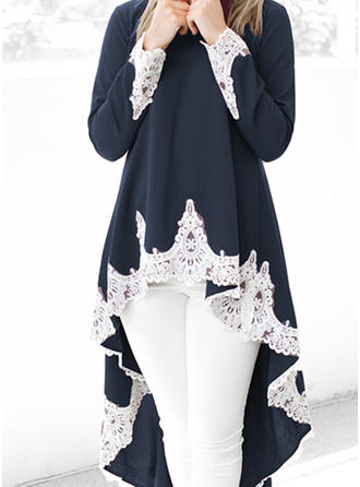 Lace/Solid Long Sleeves A-line Asymmetrical Casual Dresses