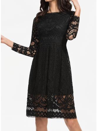 Dentelle/Couleur Unie Manches Longues Trapèze Longueur Genou Vintage/Petites Robes Noires/Décontractée/Élégante Robes