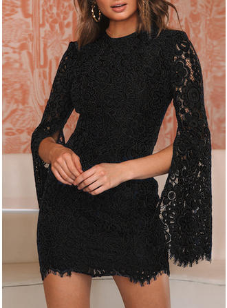 Lace/Solid Long Sleeves/Split Sleeve Bodycon Above Knee Little Black/Party/Elegant Dresses