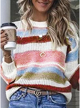 Color Block Ribbed Round Neck Long Sleeves Casual Blouses