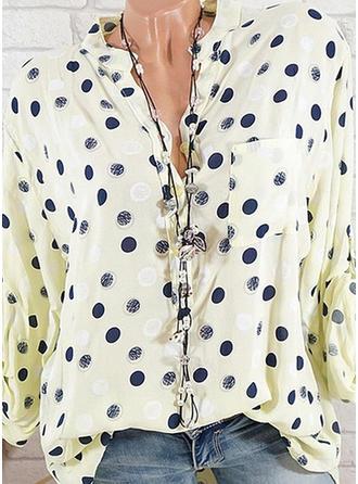 Coton Polyester Col Montant Inmprimé Manches longues Blouses de Loisirs