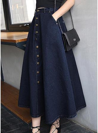 Jeans Solid färg Maxi Demin kjolar