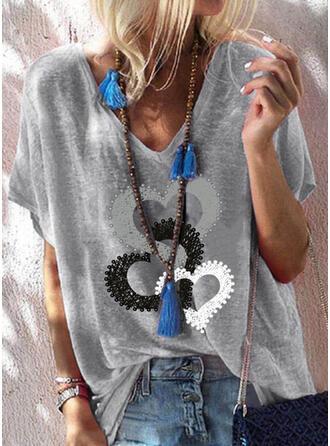 Hjerte Trykk V-hals Kortermer T-skjorter