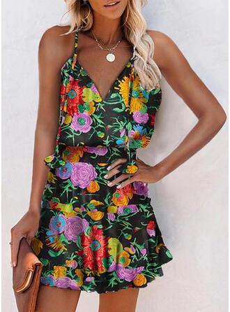 Print/Floral Sleeveless A-line Above Knee Casual/Boho Slip/Skater Dresses