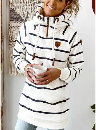 Striped Long Sleeves Shift Above Knee Casual Sweatshirt Dresses