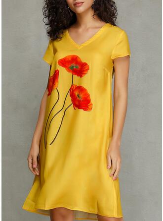 Nadrukowana/Kwiatowy Krótkie rękawy Koktajlowa Długośc do kolan Casual Sukienki