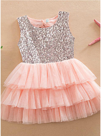 Girls Round Neck Sequined Casual Cute Dress
