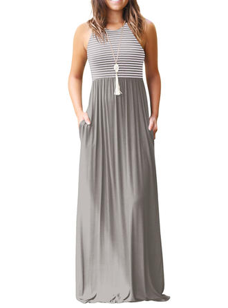Striped Sleeveless A-line Maxi Casual Dresses