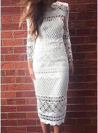 Lace Solid Round Neck Midi Sheath Dress