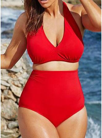 Effen kleur Hoge Taille Halter Sexy Grote maat Bikini's Badpakken