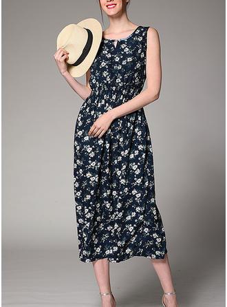 Print Floral Round Neck Midi Shift Dress