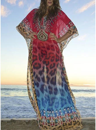 Leopard Print V-Neck Sexy Cover-ups Swimsuits