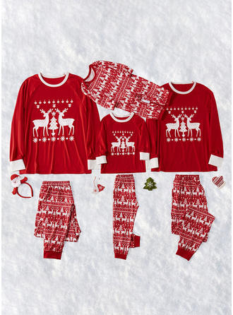 Santa Reindeer Color-block Print Family Matching Christmas Pajamas