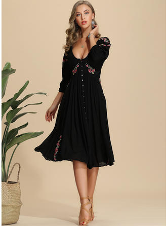 Embroidery/Floral 3/4 Sleeves A-line Knee Length Casual/Elegant Dresses