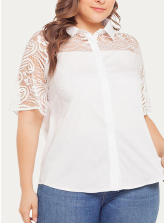 Lace Lapel 1/2 Sleeves Button Up Casual Elegant Blouses