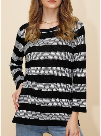 Print Striped Round Neck Sweaters