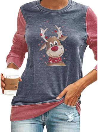 Színblokk Animal Print Kulatý Výstřih Dlouhé rukávy Vánoční mikina