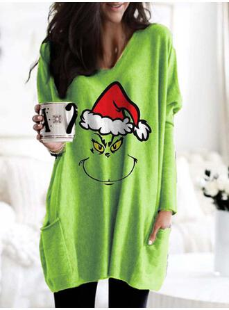 Print V-Neck Long Sleeves Christmas Sweatshirt