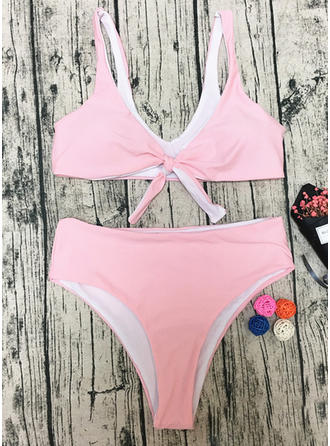 Solid Color Triangle Push Up Strap Sexy Bikinis Swimsuits