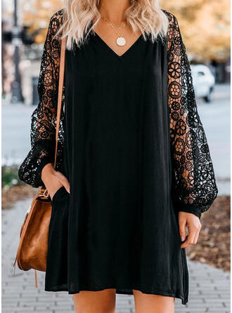 Lace/Solid Long Sleeves Shift Above Knee Little Black/Casual/Elegant Dresses