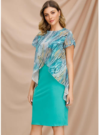 Print Short Sleeves Sheath Knee Length Casual/Elegant Dresses