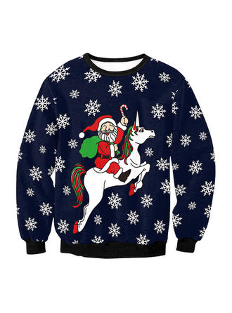Unisex Polyester Spandex Print Santa Christmas Sweatshirt