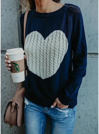Cotton Blends Round Neck Patchwork Sweater