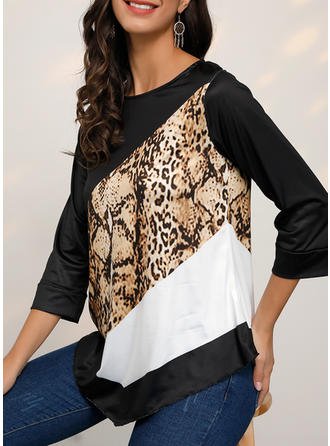 Color Block Animal Print Round Neck Long Sleeves Casual Knit Blouses