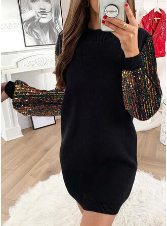 Sequins/Patchwork Long Sleeves Shift Knee Length Casual Dresses
