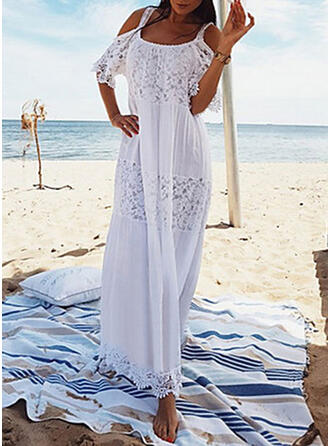 Lace Cold Shoulder Sleeve Shift Casual/Vacation Maxi Dresses