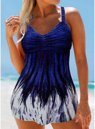 Print V-Neck Sexy Elegant Swimdresses Swimsuits