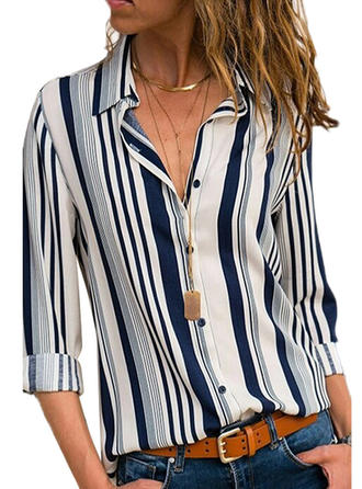 Stripet Jakkeslag Lange ermer Button up Casual Skjortebluser