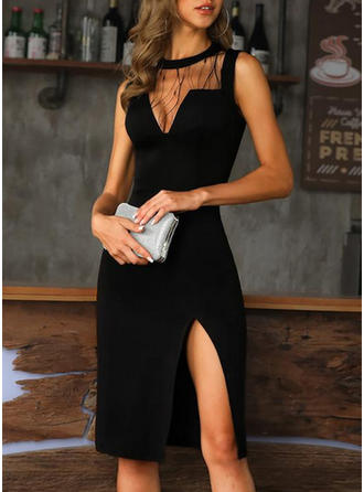 Lace/Print Sleeveless Sheath Knee Length Little Black/Party/Elegant Dresses